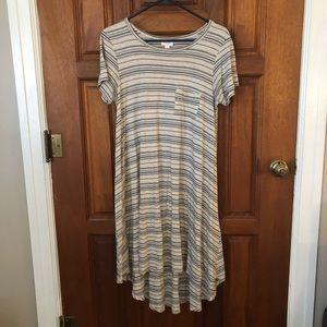 LulaRoe Carly Dress Cream and Navy Stripe Small